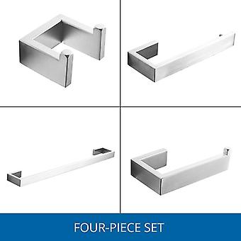 Fapully 304 Stainless Steel 4pcs/kit Brushed Wall Mount Towel Bar Cloth Hook Paper Holder Bathroom Accessories