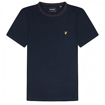 Lyle & Scott Branded Ringer Crew Neck T-Shirt Navy TS1357V