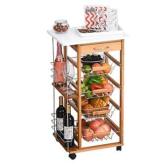 HOMCOM Multi-Use Kitchen Cart Trolley w/ 4 Baskets 2 Side Racks Drawer Worktop 4 Wheels Island Home Kitchen Food Storage Spice Vegetables Fruits Smooth Rolling Compact Furniture White Brown
