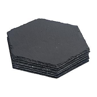 Sekskant naturlige skifer dækkeservietter - Pakke med 6