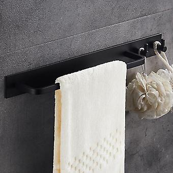 Toalett handduk Bar Svart Kläder Krok Badrum -utrymme Aluminium Handdukshängare Single Polig Vägghängning