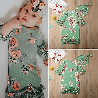 Flower Baby Sleeping Bags, Summer Fashion Print Half Sleeve Sleepwear Dress