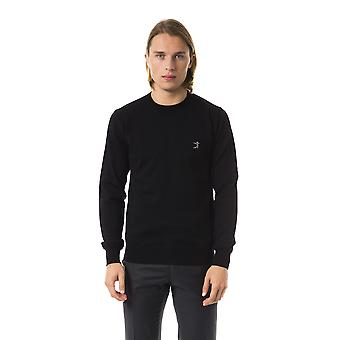 Uominitaliani Nero Black Embroidery Extrafine Sweater