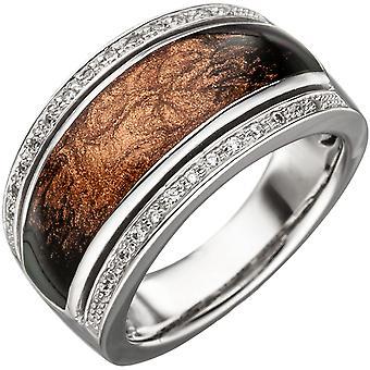 Kvinnors Ring 925 Sterling Silver med Emalj och Zirconia Emalj Silver Ring