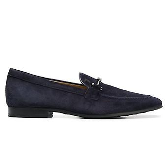 Moccasic Tod&s Suede bleu avec double T