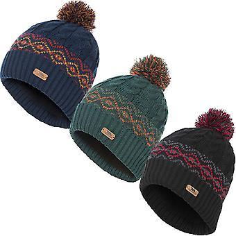 Trespass Mens Andrews Chunky Knit Inverno Caldo Fleece Foderato Berretto Bobble Cappello