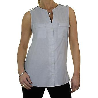 Women's Sleeveless Pinstripe Tunic Top Ladies Smart Casual Open V Neck Button Down Shirt Blouse 10-16