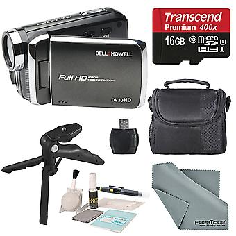 Bell & howell black dv30hd 1080p hd video camera camcorder + basic accessory bundle + professional cleaning kit