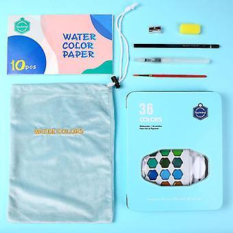 36 Colors Watercolor Pigment Set, Hand-painted Portable Painting Set