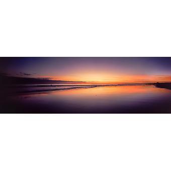 Beach at sunrise Papamoa Beach Bay of Plenty North Island New Zealand Poster Print