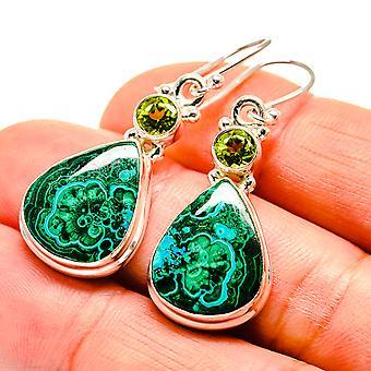 """Malachite In Chrysocolla, Peridot Earrings 1 5/8"""" (925 Sterling Silver)  - Handmade Boho Vintage Jewelry EARR409132"""