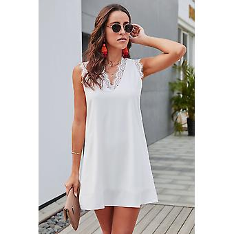 Summer V Neck Sleeveless Shift Mini Dress