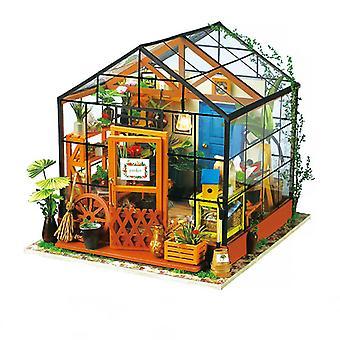 DIY木製ミニチュアドールハウスキャシーのフラワーハウス1:24 手作り人形ハウスモデル建物キット子供大人用おもちゃ