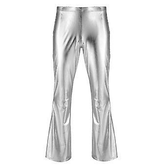 Męskie Błyszczące Metalowe Spodnie Disco, Bell Bottom, Flared Long Pant, Dude Costume