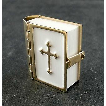 Dollshouse 1:12 Miniature Church Accessory Bible Metal Binding Printed Pages