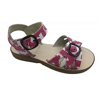 SAMPHIRE Wodoodporne skórzane sandały różowe i białe