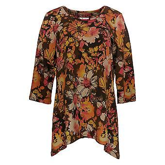 Denim & Co. Kvinder & apos;s Top himmelske Jersey Floral Tunika Brown A294009