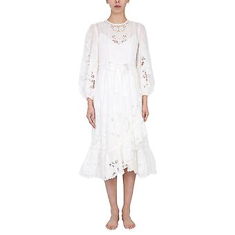Zimmermann 9879dlluivo Women's White Cotton Dress
