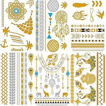 Kalloe premium metallic temporary tattoos, 75+ gold and silver mandala mehndi boho designs waterproo