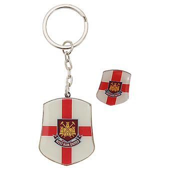 West Ham FC officiel Angleterre St George drapeau métal Football Pin Badge & Keyring Set