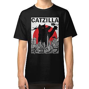 Catzilla Japanilainen Vintage Sunset Style Kissanpentu Lover T-paita Catzilla Cat Animals