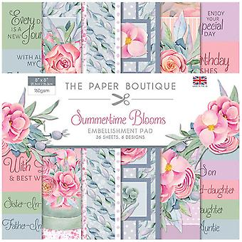 The Paper Boutique - Summertime Blooms Collection - 8x8 Embellishments Pad