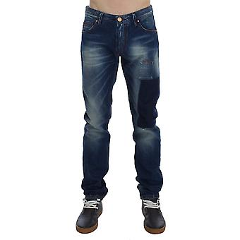 Acht Blue Wash Cotton Denim Slim Fit Faded Patch Jeans