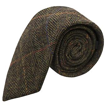 Cravatta a spina di pesce verde oliva scuro