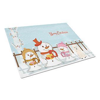 Caroline's Treasures Bb2401Lcb Merry Christmas Carolers Barodle Tagliere in vetro bianco, grande, multicolore
