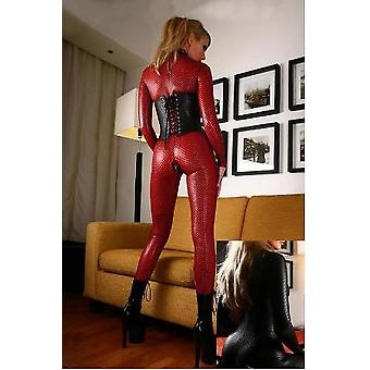 Pu Leather Fabric Bodysuit Women Sexy Rompers Womens Jumpsuit Open Crotch Double Zipper Nightclub Latex Catsuit