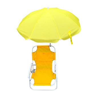 Children folding beach chairs for camping, foldable with sun protection umbrellas outdoor
