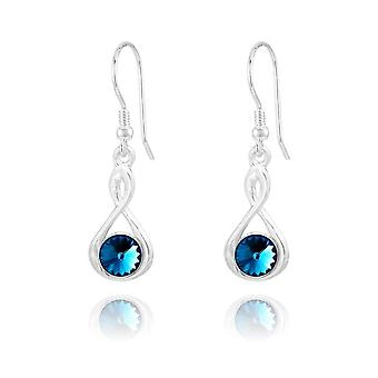 Silver bermuda blue earrings with swarovski crystal