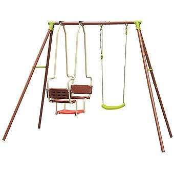 Havesving med ramme - duo sæde og normal swing - 218x153x195 cm