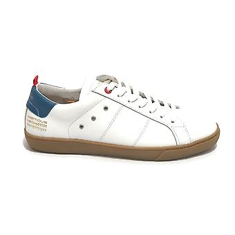 Men's Ambitious Sneaker Shoe 11490 In White Leather/ Blue Us21am05