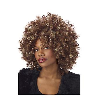 Womens Foxy Brown Blonde Afro Wig 70s 80s Disco Fancy Dress Costume Accessory