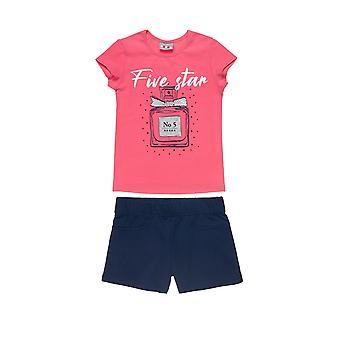 Alouette Girls' Blouse Set With Silver Foil Printing And Shorts