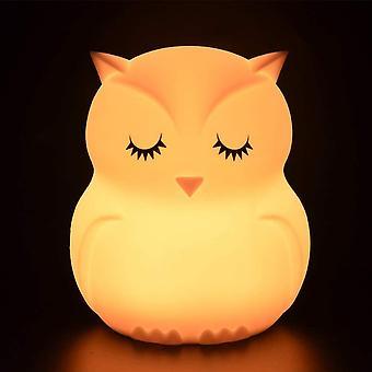 الملونة الاطفال ضوء الليل، لمس ضوء مصباح ليلة LED، 9 ألوان USB مصباح حساس قابل لإعادة الشحن، مصباح السيليكون، مصباح السرير، أجواء خفيفة، الإضاءة في الأماكن المغلقة، غرفة نوم - البومة
