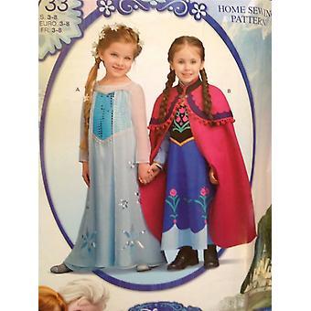 דפוס תפירה פשטות 0733 בנות תלבושות ילד נימול חדש אנה אלזה גודל 3-8