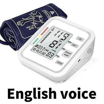 Blodsfygmomanometrar tryckmonitor överarm automatisk röst digital blodtryck manschett hem bp elektrisk pr tonometer