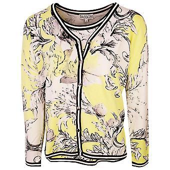 Passioni Yellow & Black Floral Print Cardigan & T-shirt Coordinating Set