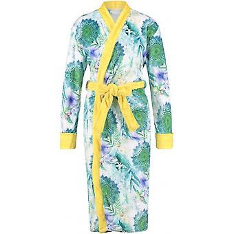 bathcoat women's polyester white/yellow size XL
