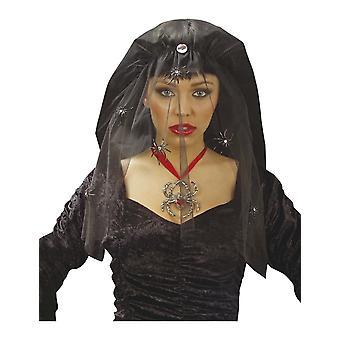 Zwarte weduwe sluier met airaigné vrouw Halloween