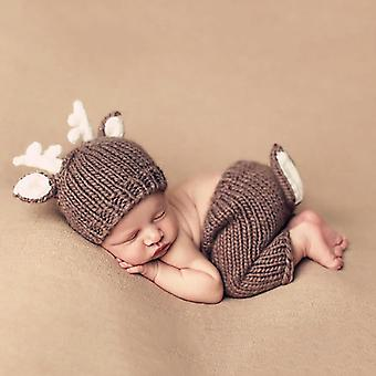 2pcs/set Baby Clothing Accessories, Cartoon Deer Hat Pant
