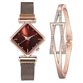 Women Square Luxury Quartz Magnet Buckle Gradient Color Watch