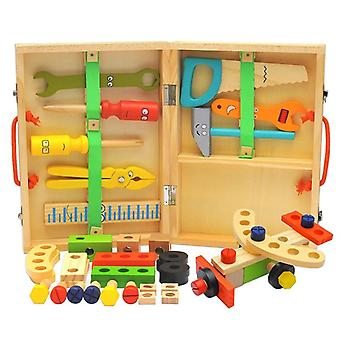 Children's Screwdriver Wooden Simulation Repair Toolbox, Disassembly Drill,