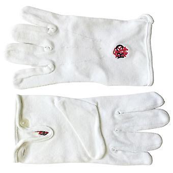 Raob red black machine embroidery white cotton gloves