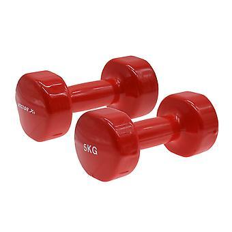 Vector X Runde Vinyl beschichtet Gym Training Home Hantel Hanteln rot (Paar) -5kg