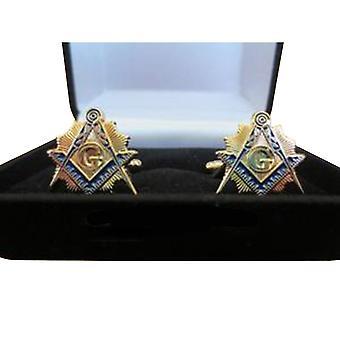 Masonic cufflinks with velvet boxed