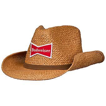 Chapeau de cowboy en paille Budweiser avec bande brune