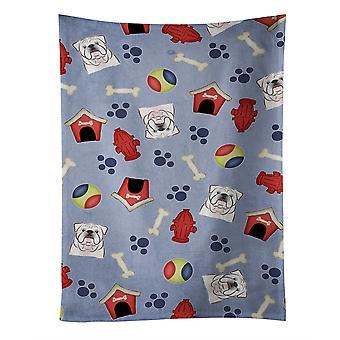 """Caroline es Treasures Bb3999Ktwl White English Bulldog Kitchen Handtuch, 25 ""X 15"", Multicolor"""